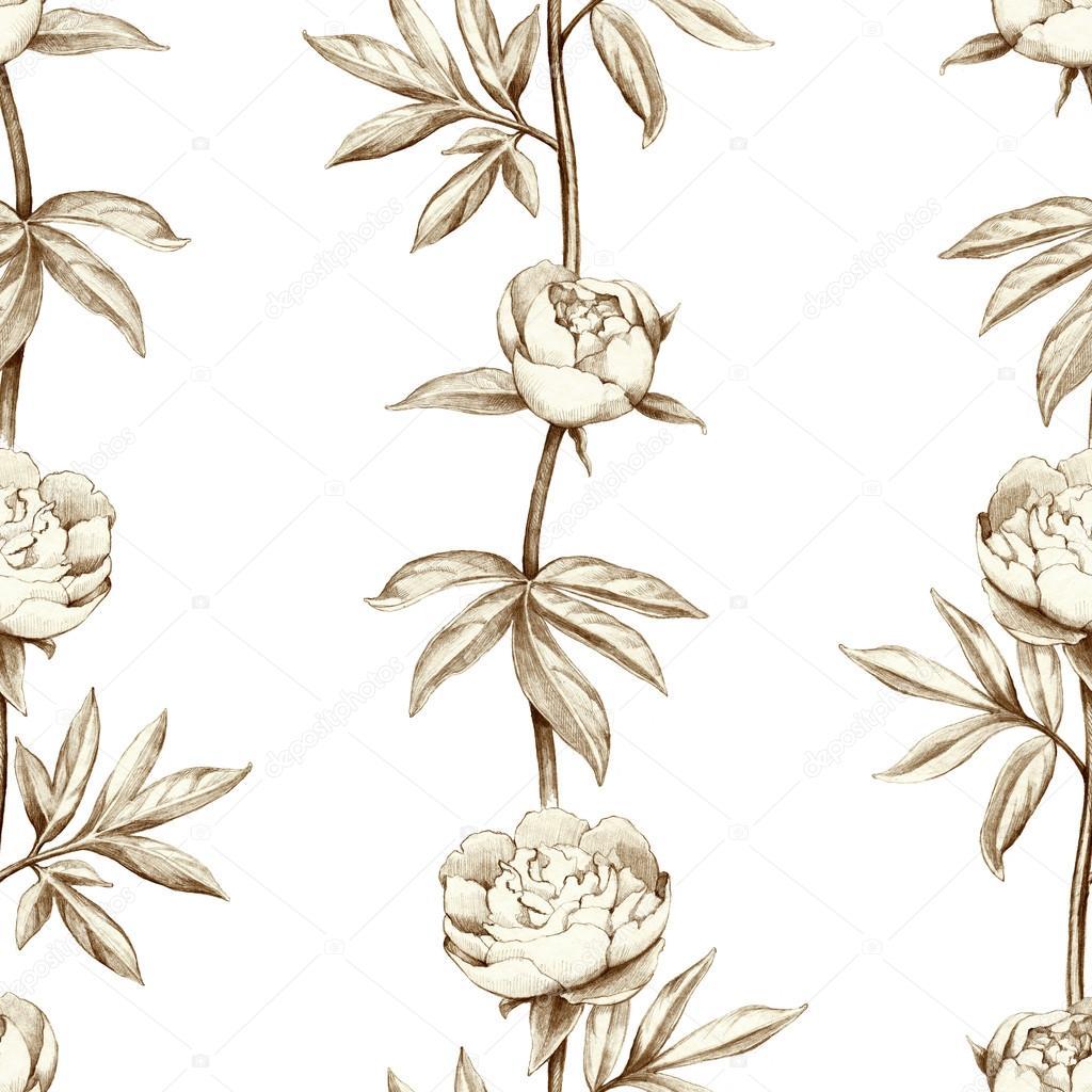 铅笔画的牡丹花.无缝模式