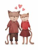 Watercolor illustration of cute cats. Perfect for Valentine gree — Stock Photo