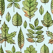 Seamless pattern with a leaves drawing — Stock Photo