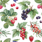 Seamless pattern with watercolor illustrations of berries — Stock Photo