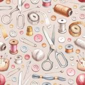 Seamless pattern with illustrations of sewing tools — Stock Photo