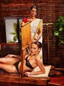 Woman having Ayurveda sauna. — Stock Photo