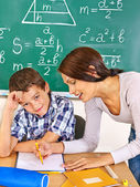 School child with teacher. — Stock Photo