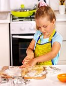 Child knead dough — Stock Photo