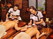 Couple having Ayurvedic spa treatment. — Stock Photo
