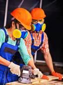 People in builder helmet . — Stock Photo