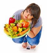 Woman weight loss on scales. — Stock Photo