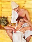 Couple at sauna. — Stock Photo