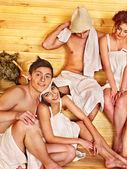 Group people in sauna. — Stock Photo