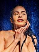 Wet woman face — Stok fotoğraf