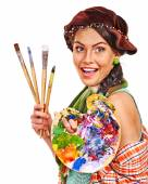 Female artist at work. — Stock Photo