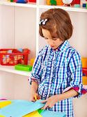 Child with scissors — Stock Photo