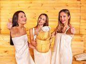 Friends relaxing in sauna. — Stock Photo