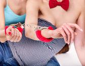 Sexy lesbian women with handcuffs — Stock Photo