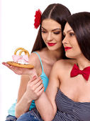 Lesbian women with wedding ring. — Stock Photo