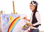 Female artist at work. — Stockfoto