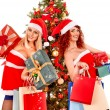 Girls and Christmas gift boxes. — Stok fotoğraf #58344913