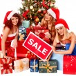 Girls and Christmas gift boxes. — Stock Photo #58345243