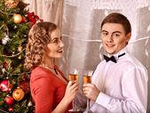 Couple on Christmas party. — Stockfoto