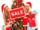 Girls and  Christmas gift boxes. — Stockfoto