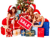 Girls and Christmas gift boxes. — Stock Photo