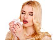 Ill woman with handkerchief — Stock Photo