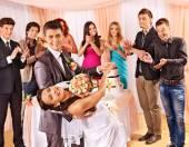 People dancing at wedding — Stock Photo