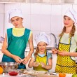 Children bake cookies at kitchen — Stock Photo #63460163