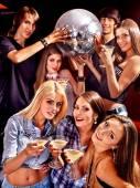 Girls holding disco ball — Stock Photo