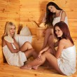 Постер, плакат: Friend relaxing in sauna