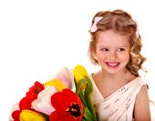 Child with spring flowers. — Stock Photo