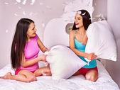 Lesbian women at pillow fights — Stock Photo