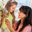 Mother, girl with   easter egg. — Stock Photo #67894993