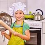 Child knead dough. — Stock Photo #70761401