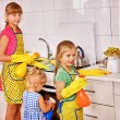 Children cooking at kitchen. — Stock Photo #70762483