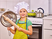 Child knead dough. — Stock Photo