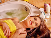 Woman relaxing at home bath. — Stock Photo