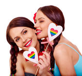 Lesbian women in erotic foreplay game — Stock Photo