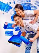 Family paint wall at home. — Stock Photo