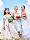 Group of brides in summer outdoor. — 图库照片