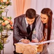 Groom and bride register marriage — Stock Photo #73852601