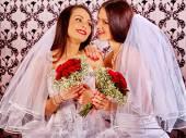 Wedding lesbians girl in bridal dress. — Stock Photo