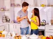 Couple breakfast at kitchen. — Stock Photo