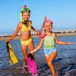 Children playing on  beach. — Stock Photo #76105493