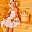 Child relaxing at sauna. — Stock Photo #76108439