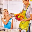 Young family cooks at kitchen. — Stock Photo #78142376