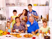 Big happy family have breakfast. — Stock Photo