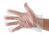Hand in  plastic glove — Stock Photo