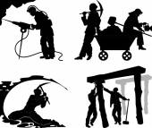 Silhouettes of of the miners — Stock Vector