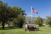 Farmyard and cart by Mt Princeton CO — Stock Photo